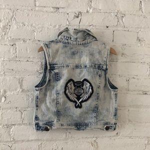 Cherokee Acid Washed Vest w/ Harley Davidson Patch